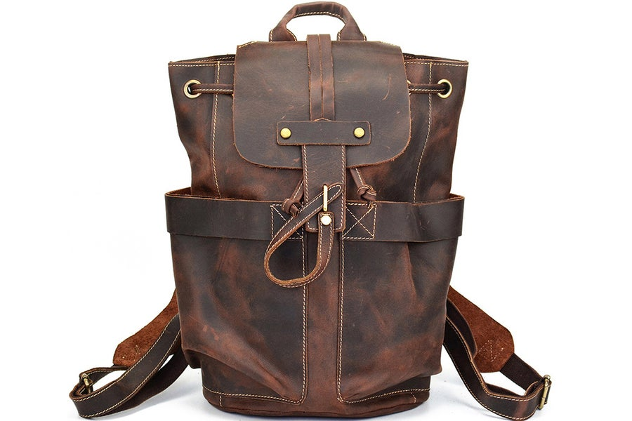 Image of Vintage Handmade Man Backpack Leather Laptop Backpack LF9109