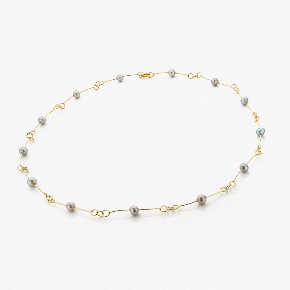 Image of necklace gold, grey pearls - halsjuweel goud, grijze parels