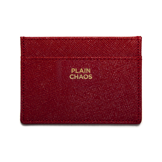 Image of Leather Card Holder Cherry Red