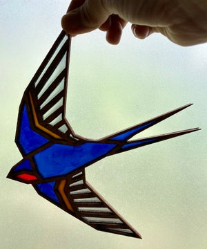 Image of Barn Swallow - Faux Stained  Glass Window Hanging