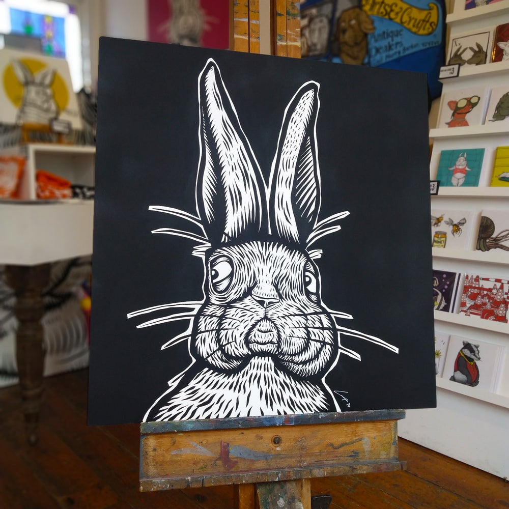 Image of Rampant Rabbit Original Painting (Available in Black or Pink)