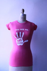 Image of Hi Hater T-Shirt - Womens (Pink w/White)