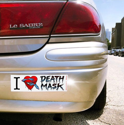 Image of I ❤️ Death Mask bumper sticker