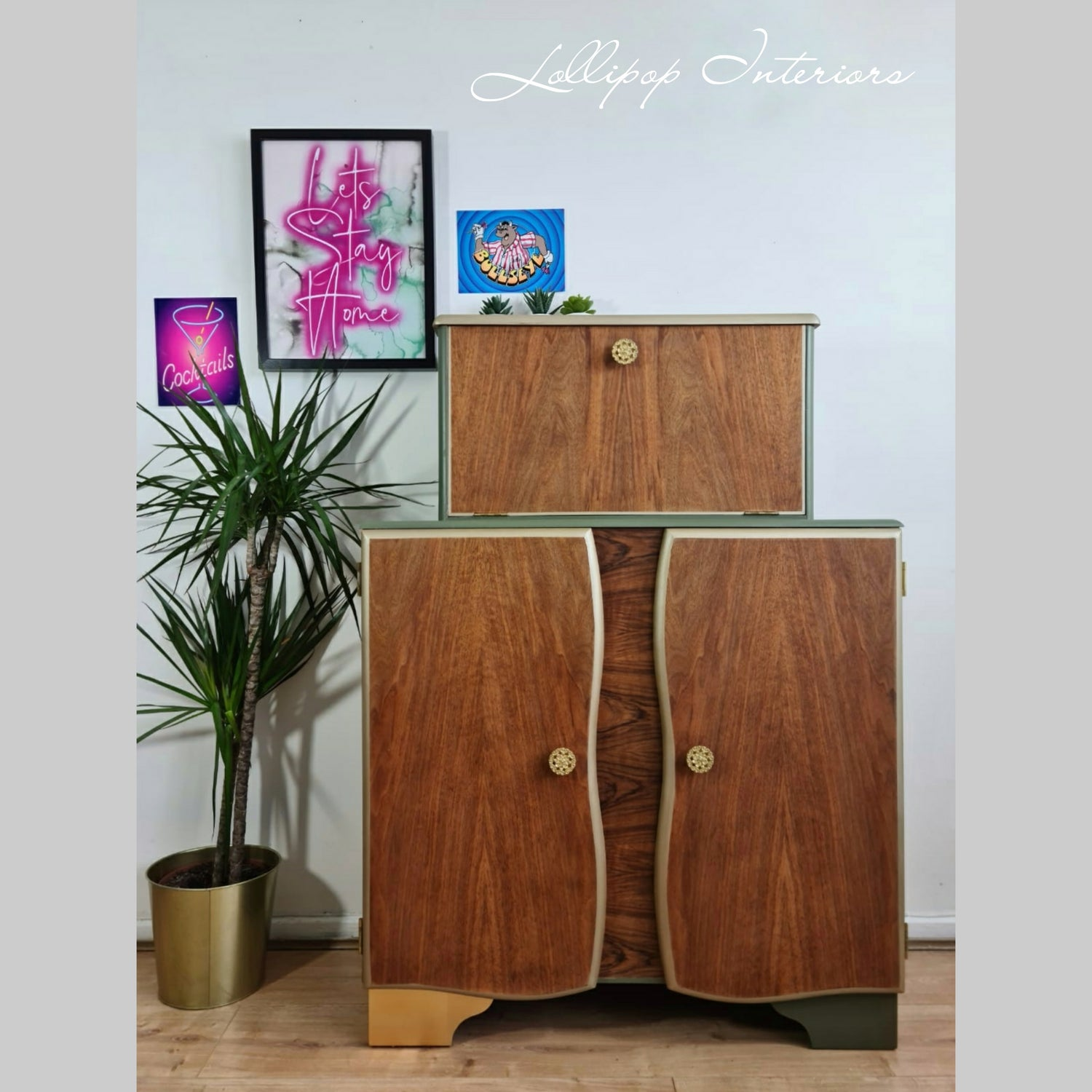 Image of Sage green cocktail cabinet with vintage gold accents