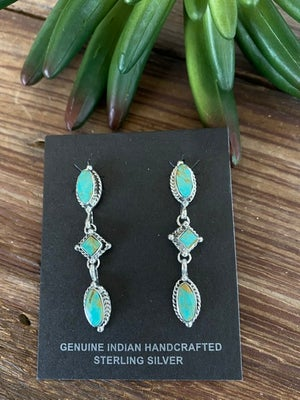 Falling Rain Turquoise Earrings