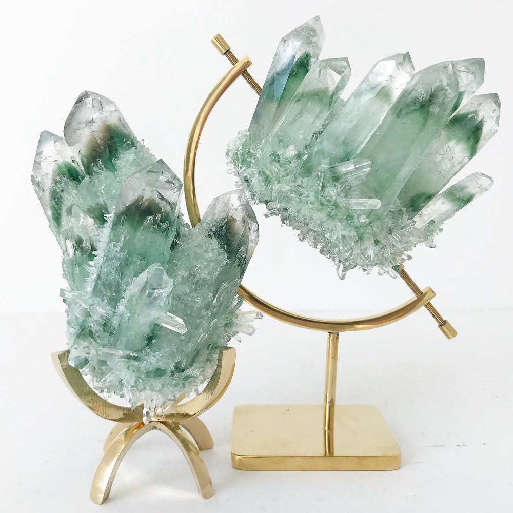 Image of Green Phantom Quartz Crystal Cluster no.06 + Brass Claw Stand