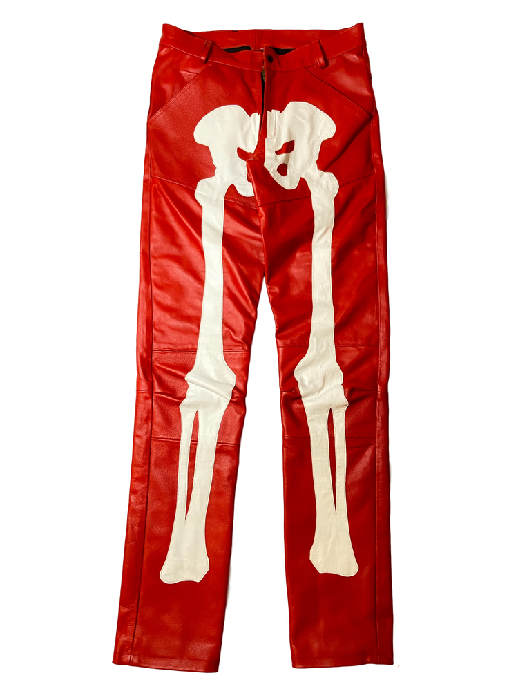 Image of BLOOD RED BIKER BONES LEATHER PANTS