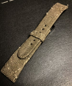 Image of Hand-rolled rembordé military canvas watch strap