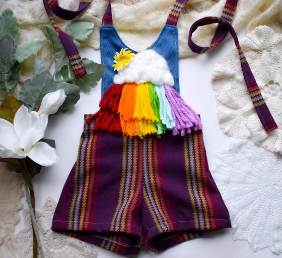 Image of Hand Embroidered Rainbow Playsuit