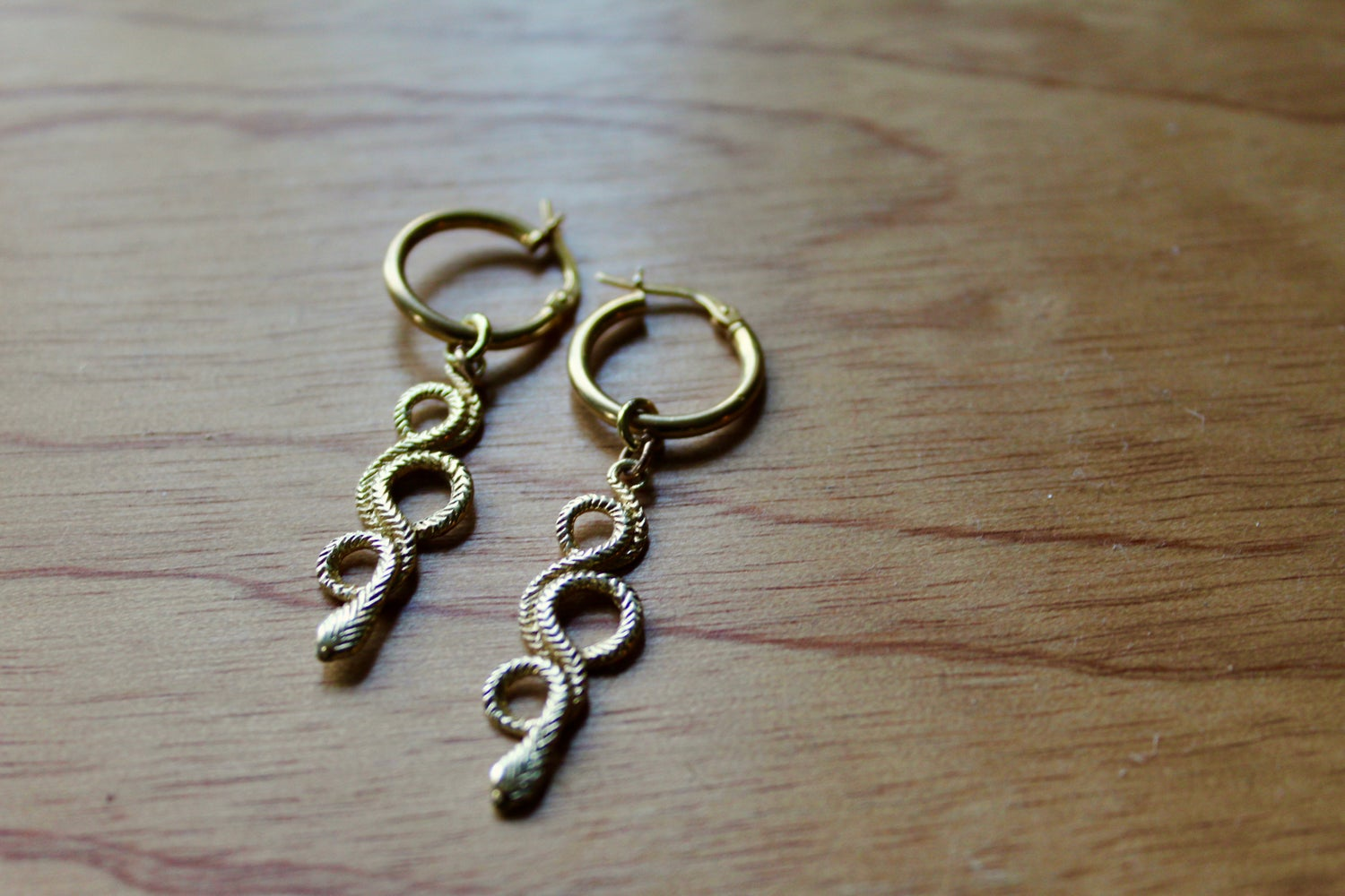 Image of 9ct Gold Serpent earrings