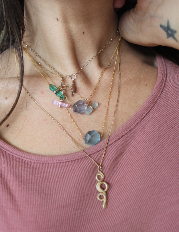 Image of Fluorite necklace - gold filled