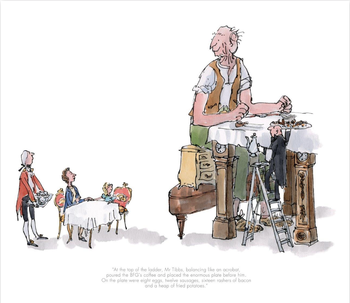 """Sir Quentin Blake and Roald Dahl """"The BFG Has Breakfast With The Queen"""""""