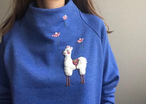 Image of Customize your own Alpaca sweatshirt // hand embroidered, organic cotton, GOTS certified
