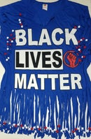 Image 1 of Black Lives Matter Beaded Upcycled USA Statement T-Shirt