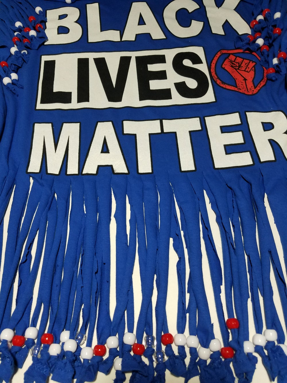 Black Lives Matter Beaded Upcycled USA Statement T-Shirt