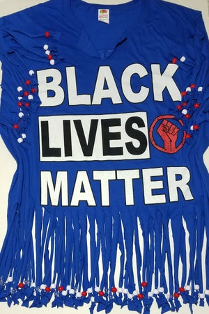 Image of Black Lives Matter Beaded Upcycled USA Statement T-Shirt