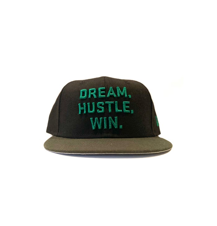 Image of 2520 X NEW ERA DREAM. HUSTLE. WIN. 9FIFTY SNAPBACK - BLACK/DARK SEAWEED