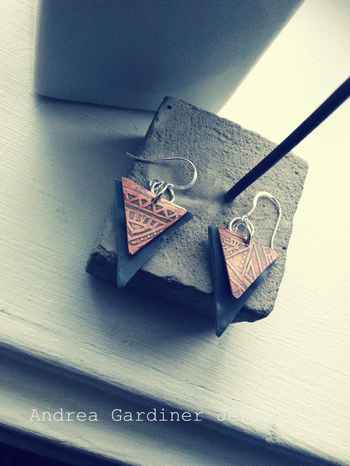 Image of Copper Aztec Earrings