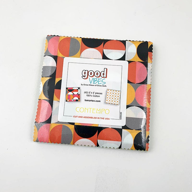 "Good Vibes Charm Pack 5"" x 5"" Squares"