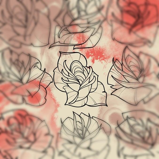 Image of Rose Garden Procreate Brush Set