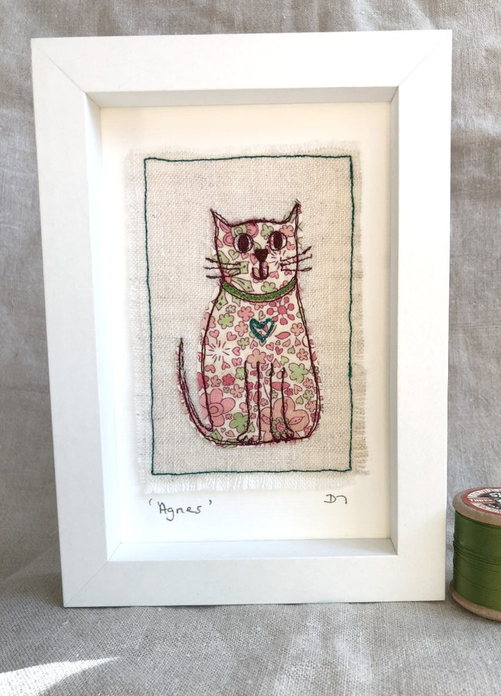 Framed Liberty Fabric Cat 'Agnes'