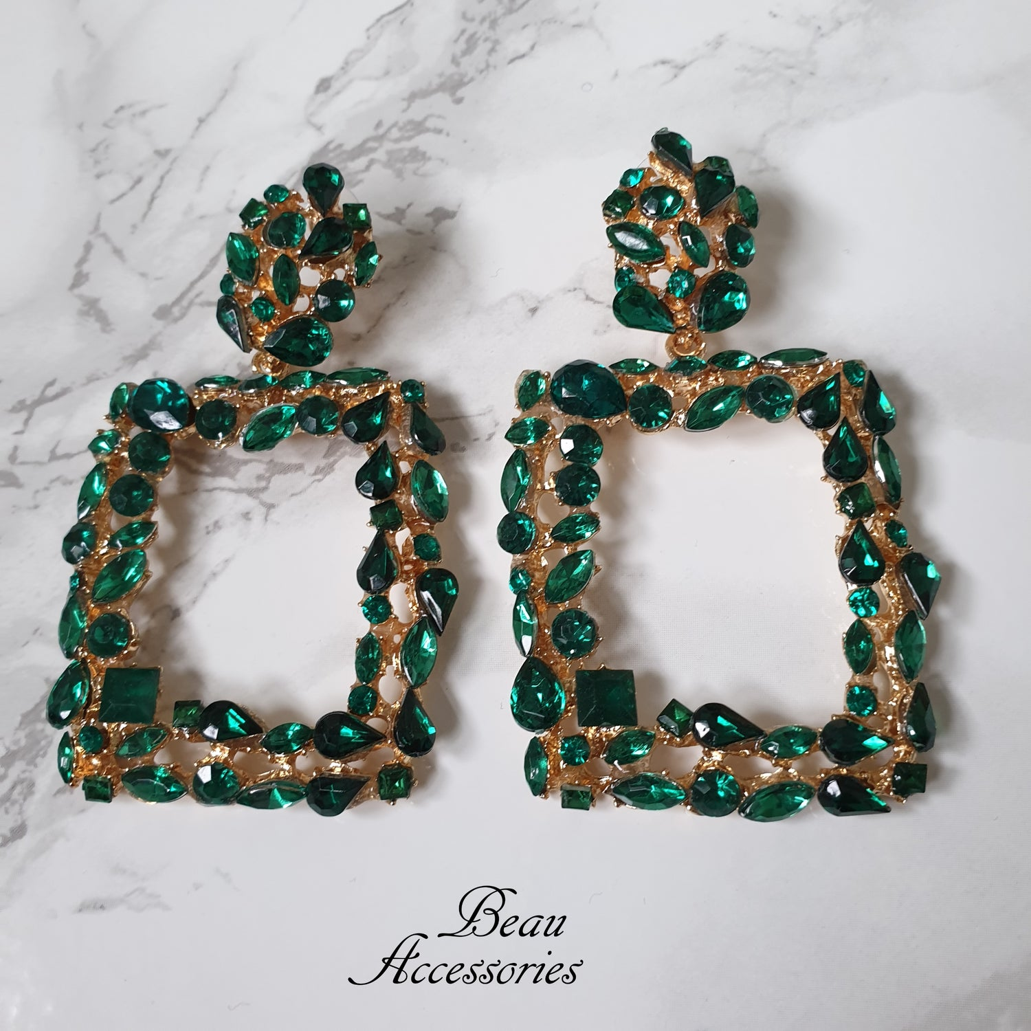Image of Emerald Green Crystal Earrings