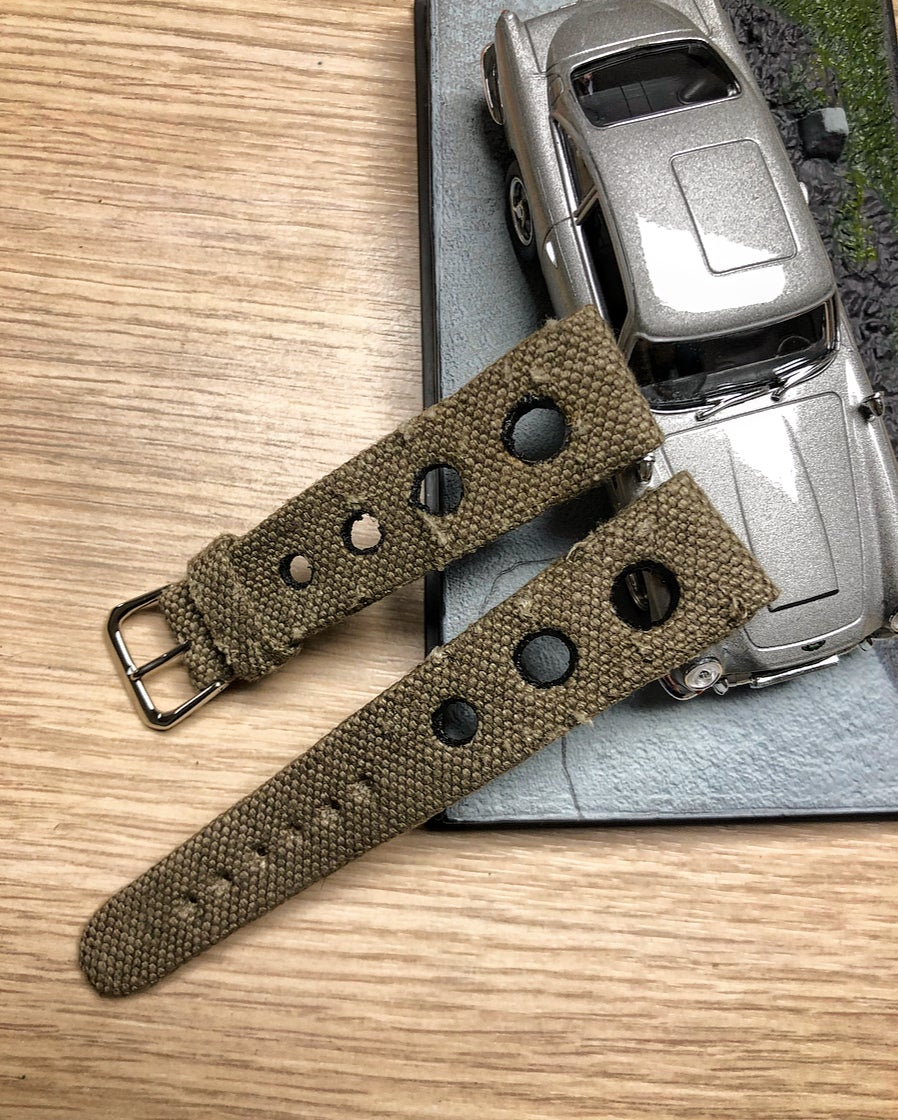 Image of Hand-rolled rembordé military canvas Rally watch strap