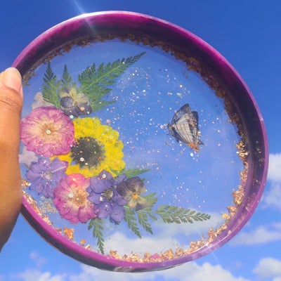 "Image of 7"" Floral Butterfly 'Moon and Star' multi-functional Tray"