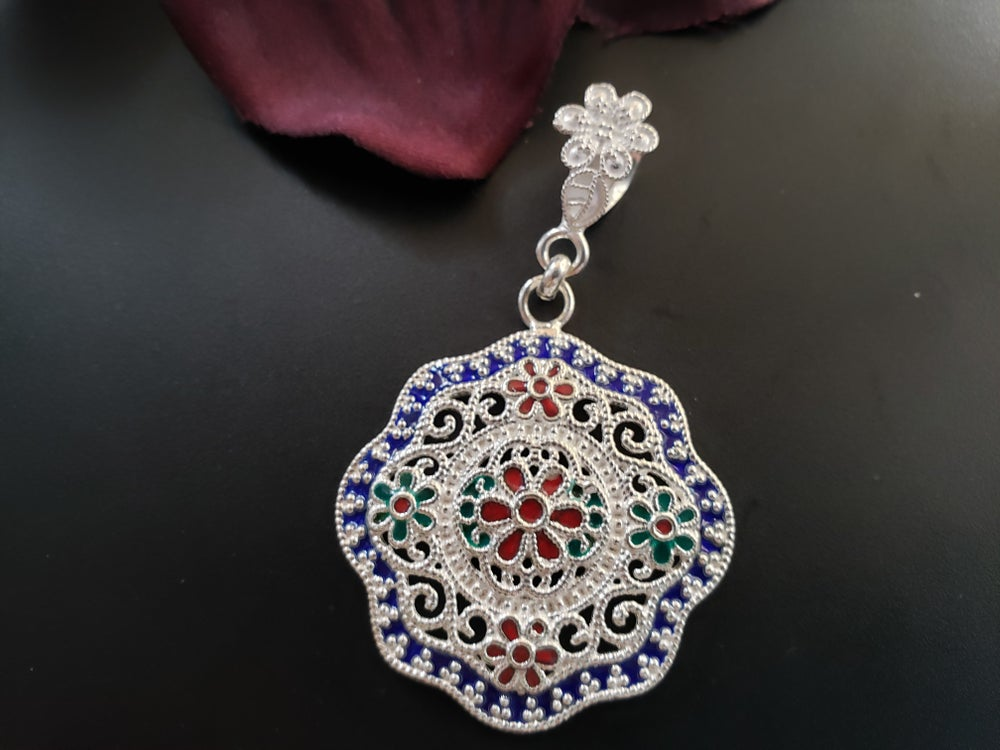 Colorful textured Medallion Pendant