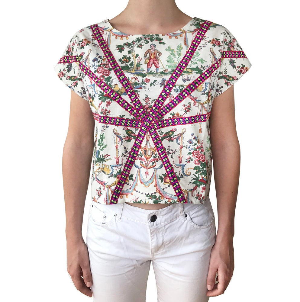 Image of Toile de Jouy & Ribbons crop Top