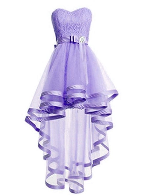 Tulle Light Purple Cute High Low Party Dress, Short Homecoming Dress