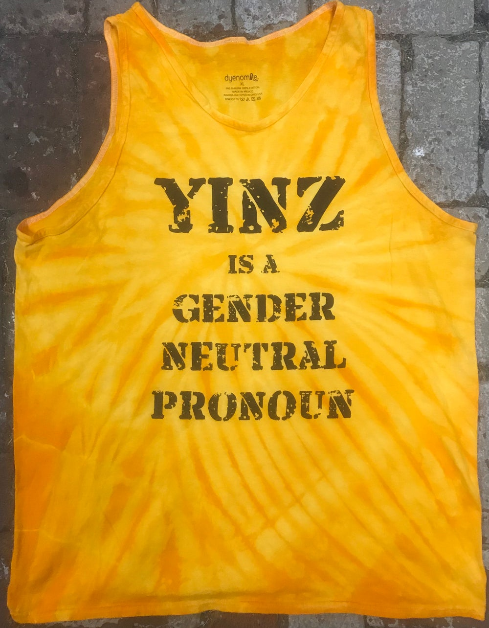 "Image of 3XL Tie-Dye ""Yinz is a Gender Neutral Pronoun"" Tanks and Tees"
