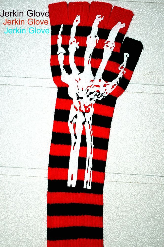 Image of RED JERKIN GLOVE WITH SKELETON