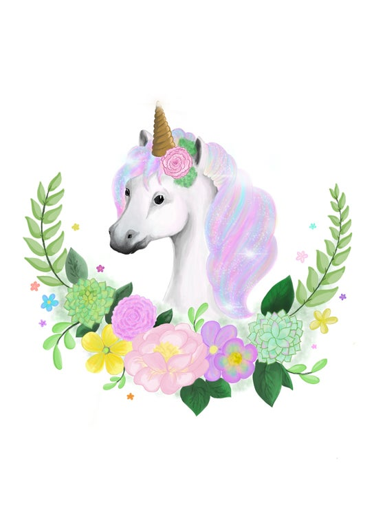 Image of Floral Unicorn Art Print