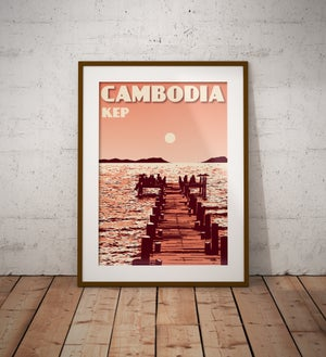 Image of Vintage poster Cambodia - Kep - Fine Art Print
