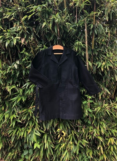 Image of Black cotton chore coat/duster coat with belt. Age 6-7yrs.