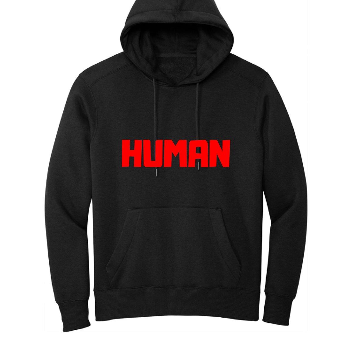 Image of Black Human Hoodie | Red Text
