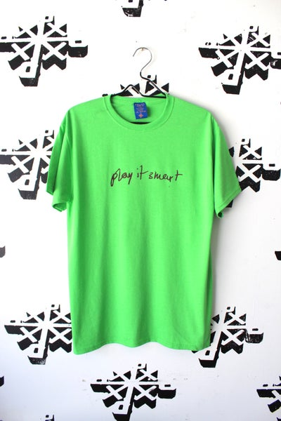 Image of play it smart tee in bright green