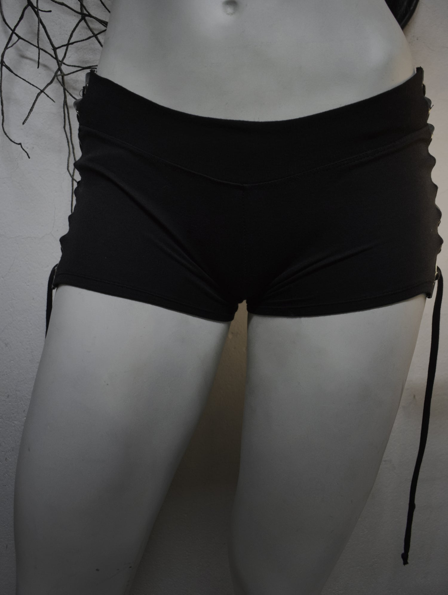 Image of Venom Black metal  Grommet Lace-Up Shorts FREE SHIPPING
