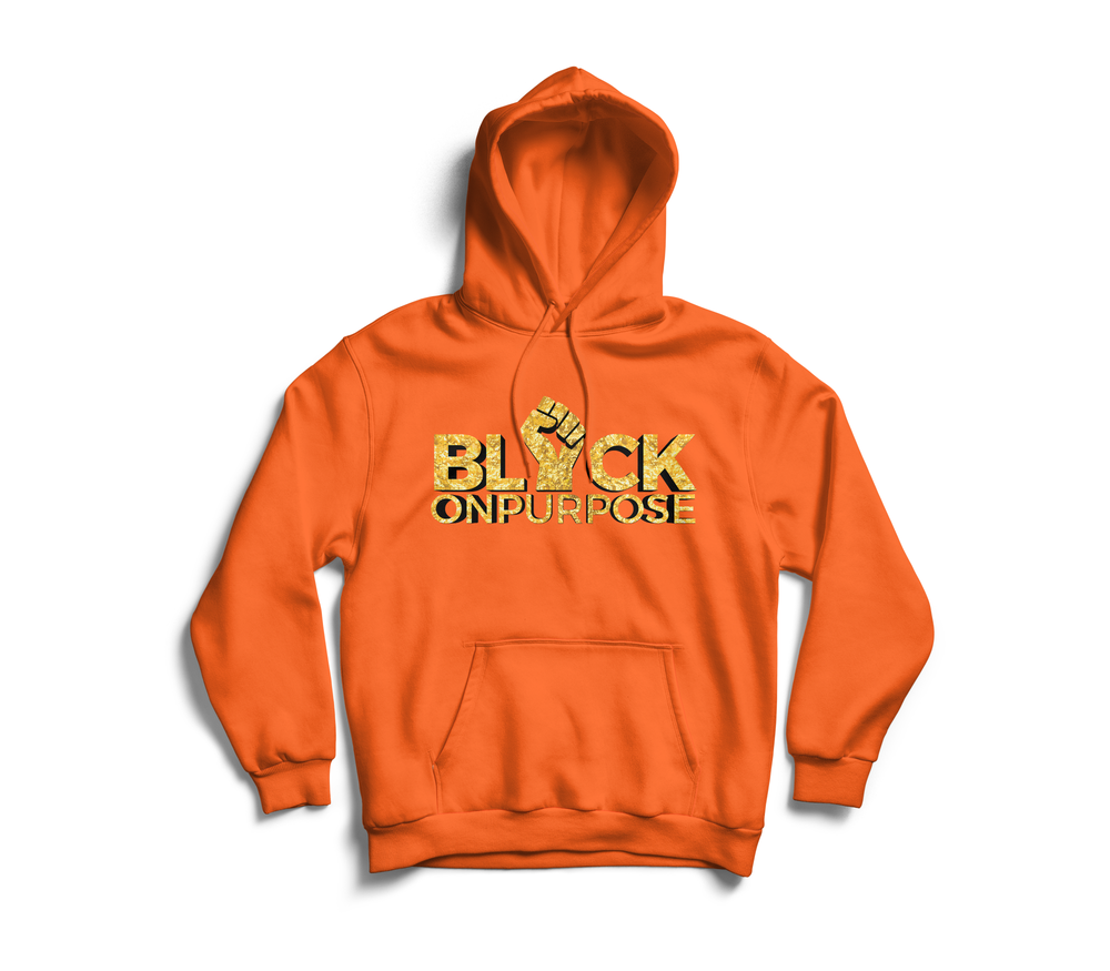 "Image of Adult Orange Gold ""Black On Purpose"" Hoodie"