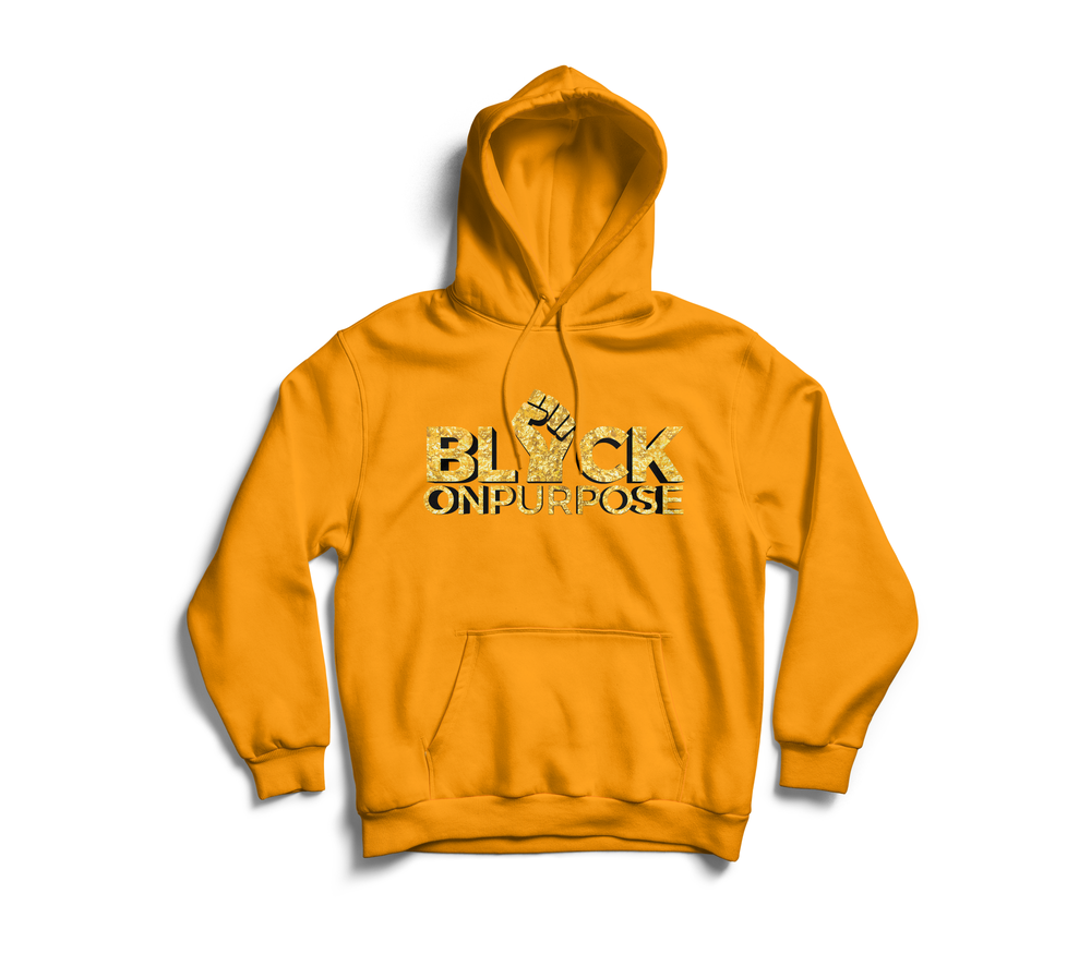 "Image of Adult Yellow Gold ""Black On Purpose"" Hoodie"