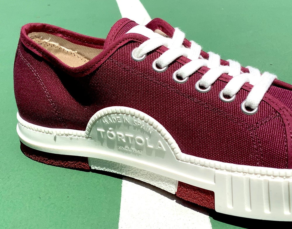 Image of Tortola lo top Burgundy canvas shoes made in Spain