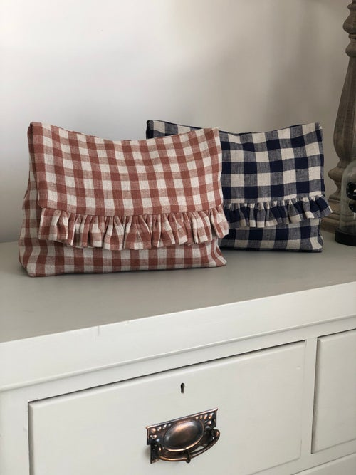 Image of Gingham Frill Toiletry Bag