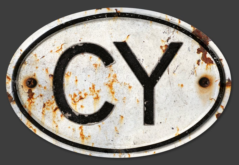 Image of Magnetic Cyprus 'CY' Badge, Standard 180x120mm