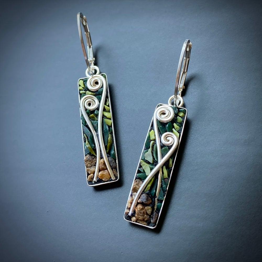 Image of Fiddlehead Micro Mosaic Earrings