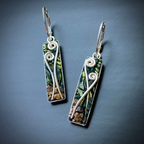 Image of Fiddlehead Micro Mosaic Earrings