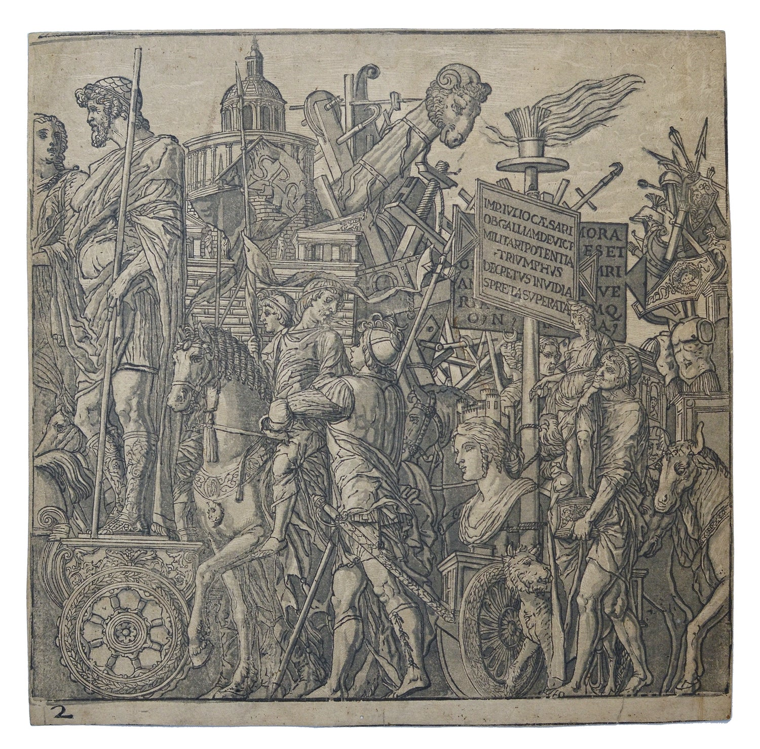 Image of A pair of rare chiaroscuro woodcuts from the Triumph of Julius Caesar by Andrea Andreani