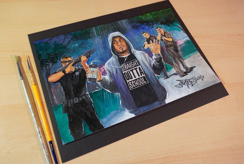 "Image of Original art, ""Straight Outta School"" guache on paper"