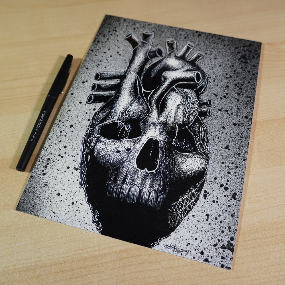 "Image of Original Art, ""Black Hearted"" ink drawing on illustration board"