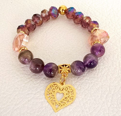 Image of Amethyst and pink crystal bracelet